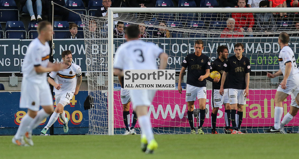 Falkirk players look stunned by Barrs goal  during the Falkirk FC v Dumbarton FC  Scottish Championship 28th August 2015 <br /> <br /> (c) Andy Scott | SportPix.org.uk