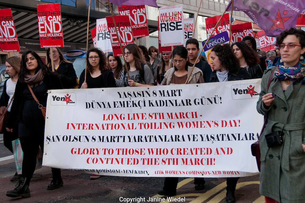 Million Women Rise march through London on International Womens day March 2014