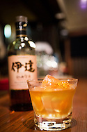 Japanese whisky at a bar in Tokyo, Japan