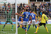 Christian Doidge scores a header during the Sky Bet League 2 match between Carlisle United and Dagenham and Redbridge at Brunton Park, Carlisle, England on 12 September 2015. Photo by Craig McAllister.