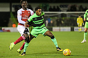 Forest Green Rovers Reece Brown(10) on the ball during the EFL Trophy group stage match between Forest Green Rovers and U21 Arsenal at the New Lawn, Forest Green, United Kingdom on 7 November 2018.