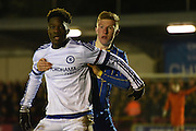 Seanan Mckilop holding his man during the FA Youth Cup match between U18 AFC Wimbledon and U18 Chelsea at the Cherry Red Records Stadium, Kingston, England on 9 February 2016. Photo by Michael Hulf.
