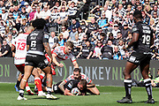 The Hull Kingston Rovers defence thwarts a Hull FC attack during the Betfred Super League match between Hull FC and Hull Kingston Rovers at Kingston Communications Stadium, Hull, United Kingdom on 19 April 2019.
