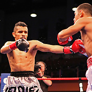 Marvin Quintero (Right)  and Miguel Vazquez fight for the IBF Lightweight title during the HBO Triple Explosion fight at the Turning Stone Resort Casino in Verona, NY, on Saturday, Oct 27, 2012. (AP Photo/Alex Menendez)
