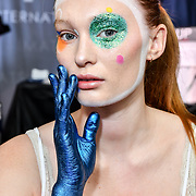 Theatrical look Leanne Simms Kryolan International Educator demo at IMATS on 18 May 2019,  London, UK.