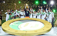 Fotball<br /> Tyskland<br /> 30.05.2015<br /> Foto: Witters/Digitalsport<br /> NORWAY ONLY<br /> <br /> Team Wolfsburg, Torwart Diego Benaglio mit Pokal, Wolfsburg DFB-Pokalsieger 2015<br /> Fussball, DFB-Pokal, Finale 2015, Borussia Dortmund - VfL Wolfsburg 1:3
