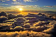 Image of clouds over Haleakala National Park at sunrise, Maui, Hawaii, Hawaiian Islands