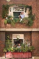 Die Weintrauben<br /> von Johannes<br /> Bauer (mit Hündin<br /> Brigitte) wachsen<br /> direkt über dem<br /> Balkon von<br /> Tatjana Glässer<br /> und ihrem Partner<br /> Heinz Gätjens.