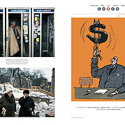 "Tearsheets of ""Kiev protests"" published in Courrier Internacional"