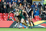 No way through for Australia's Matt Gillett during the Ladbrokes Four Nations match between Australia and New Zealand at Anfield, Liverpool, England on 20 November 2016. Photo by Craig Galloway.