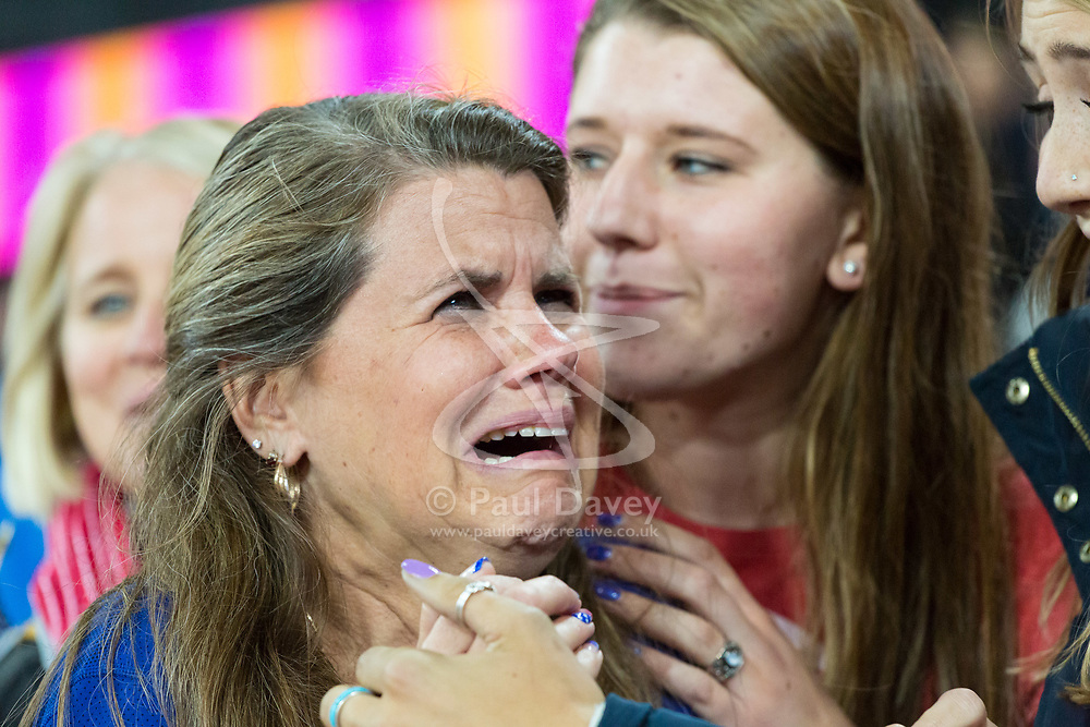 London, August 11 2017 . Overcome with emotion, Courtney Frerichs' (USA) mother, after her daughter claims silver in the women's 3000m steeplechase final on day eight of the IAAF London 2017 world Championships at the London Stadium. © Paul Davey.