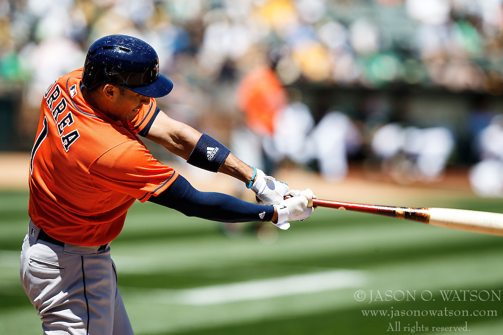 OAKLAND, CA - MAY 01: Carlos Correa #1 of the Houston Astros at bat against the Oakland Athletics during the first inning at the Oakland Coliseum on May 1, 2016 in Oakland, California. The Houston Astros defeated the Oakland Athletics 2-1. (Photo by Jason O. Watson/Getty Images) *** Local Caption *** Carlos Correa