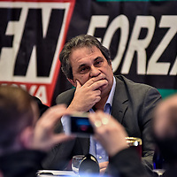 Como, Italy - 9 December 2017: Roberto Fiore, Italy's neo-fascist Forza Nuova leader, during a press conference. Italy's Democrats led a rally at the same time a few hundreds meters away to warn about a comeback of fascist movements in the country.