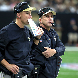 Sep 11, 2016; New Orleans, LA, USA;  New Orleans Saints head coach Sean Payton and defensive coordinator Dennis Allen during the second quarter of a game against the Oakland Raiders at the Mercedes-Benz Superdome. Mandatory Credit: Derick E. Hingle-USA TODAY Sports