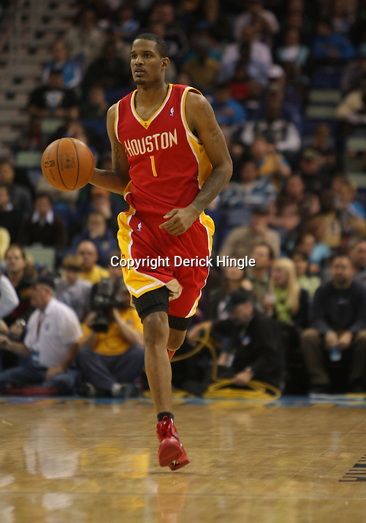 Jan 02, 2010; New Orleans, LA, USA; Houston Rockets forward Trevor Ariza (1) drives with the ball against the New Orleans Hornets during a game at the New Orleans Arena. The Hornets defeated the Rockets 99-95.  Mandatory Credit: Derick E. Hingle-US PRESSWIRE