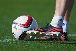 NEWPORT, WALES - Wednesday, October 8, 2014: Adidas boots and ball at Dragon Park National Football Development Centre ahead of the UEFA Euro 2016 qualifying match against Bosnia and Herzegovina. (Pic by David Rawcliffe/Propaganda)