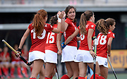 Complutense's second goal scorer (C) Lola Riera Zuzuarregui celebrates her gaol with her team mates during their 2nd game of the EHCC 2017 at Den Bosch HC, The Netherlands, 4th June 2017