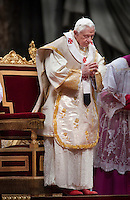 Pope prays during Mass on the Solemnity of Mary Mother of God. Pope Benedict XVI.