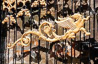 Golden dragon decoration at Pura Kebo Edan near ubud, bali, indonesia