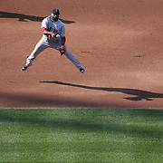 Pablo Sandoval, Boston Red Sox, makes a great play from third base for an out in the late afternoon sunlight during the New York Mets Vs Boston Red Sox MLB regular season baseball game at Citi Field, Queens, New York. USA. 29th August 2015. Photo Tim Clayton