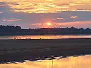 Laos, Vientiane. Mekong sunset.