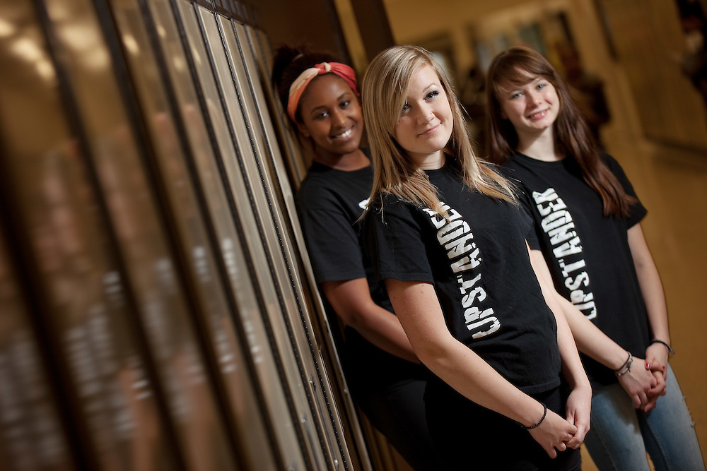 London, Ontario ---11-11-17---  Westminister Secondary School students Sabrina Friskie, centre, Jennifer House, right and Amal Jama  are part of the in London Ontario school's Upstander campaign, an anti-bullying effort empowering bystanders.<br /> GEOFF ROBINS The Globe and Mail