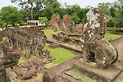 SIEM REAP, CAMBODIA - AUGUST 10, 2008: View from the central pyramid of the Bakong temple in Siem Reap, Cambodia.