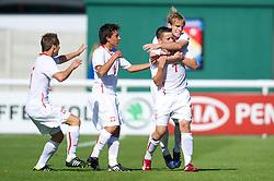 BANGOR, WALES - Thursday, August 30, 2012: Poland's Milosz Kozak celebrates scoring the first goal against Wales during the International Friendly Under-16's match at the Nantporth Stadium. (Pic by David Rawcliffe/Propaganda)