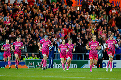 Exeter Chiefs players run out for the first half of the match - Photo mandatory by-line: Rogan Thomson/JMP - Tel: Mobile: 07966 386802 20/10/2012 - SPORT - RUGBY - Sandy Park Stadium - Exeter. Exeter Chiefs v ASM Clermont Auvergne - Heineken Cup Round 2