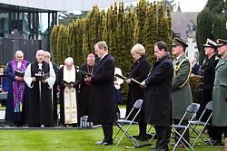 The Interfaith Service and Unveiling of Necrology Wall, Glasnevin Cemetery, Sunday 3 April 2016.<br /> <br /> An Taoiseach Enda Kenny TD.<br /> Heather Humphreys, the Minister for Arts, Heritage and the Gaeltacht.<br /> Councillor Ruairi McGinley, Deputy Lord Mayor.