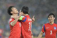 Fotball<br /> Asia Cup / Asiamesterskapet<br /> 26.01.2015<br /> Irak v Sør Korea<br /> Semifinale<br /> Foto: imago/Digitalsport<br /> NORWAY ONLY<br /> <br /> Sydney, Australia. AFC Asian Cup Semi Final. Korea Republic v Iraq. Korean defender Kim Young-gwon scores the second goal. Korea won the game on 2-0