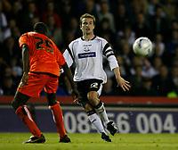 Photo: Steve Bond.<br />Derby County v Luton Town. Coca Cola Championship. 20/04/2007. Matt Oakley (R) crosses as Leon Barnett (L) backtracks