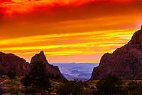 Sunset view of The Window, a rock formation in the Chisos Mountains, Big Bend National Park, Texas USA.