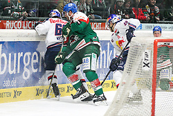 20.02.2015, Curt-Frenzel-Stadion, Augsburg, GER, DEL, Augsburger Panther vs EHC Red Bull München, 49. Runde, im Bild l-r: im Zweikampf, Aktion, mit Florian Kettemer #69 (EHC Red Bull Muenchen) und Greg Moore #26 (Augsburger Panther) // during Germans DEL Icehockey League 49th round match between Adler Mannheim and Grizzly Adams Wolfsburg at the Curt-Frenzel-Stadion in Augsburg, Germany on 2015/02/20. EXPA Pictures © 2015, PhotoCredit: EXPA/ Eibner-Pressefoto/ Kolbert<br /> <br /> *****ATTENTION - OUT of GER*****