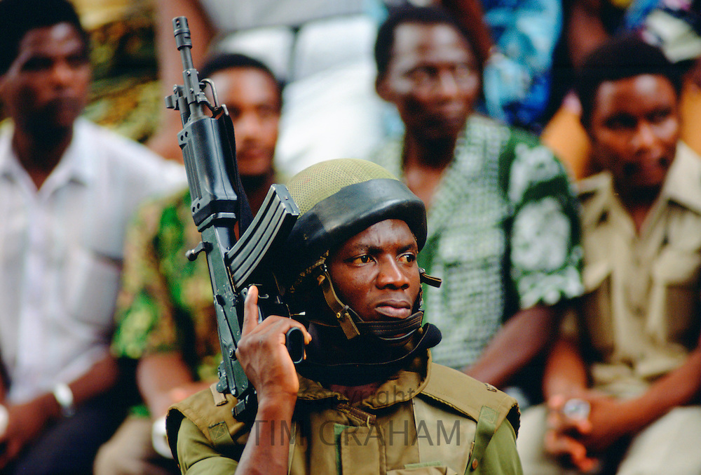 Soldier with machine gun  in Cameroon, West Africa