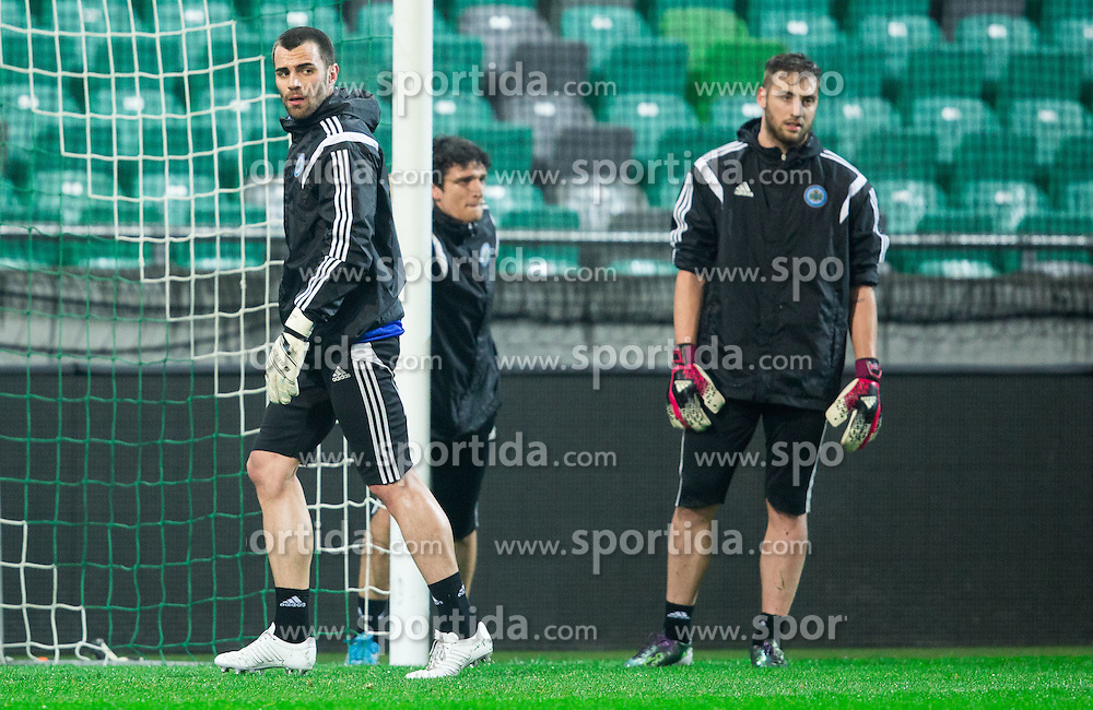 Aldo Simoncini (L) during practice session of San Marino National Football Team 1 day before EURO 2016 Qualifying match against Slovenia, on March 26, 2015 in SRC Stozice, Ljubljana, Slovenia. Photo by Vid Ponikvar / Sportida