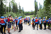 The Oregon Marching Band rafts down the Kanaskis River outside of Canmore, Alberta on July 14, 2011.