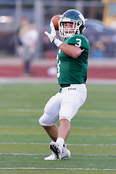 {BLOOMINGTON, IL:  Bryce Dooley performs the flee flicker completing a pass to put the Titans next to the goal line during a college football game between the IWU Titans  and the Wheaton Thunder on September 15 2018 at Wilder Field in Tucci Stadium in Bloomington, IL. (Photo by Alan Look)