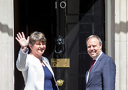 June 13, 2017 - London, London, United Kingdom - Arlene Foster, Leader of the Democratic Unionist Party and her deputy, Nigel Dodds, arrive at 10 Downing Street for a meeting with Prime Minister, Theresa May to discuss forming an alliance for government.Image ©Licensed to i-Images Picture Agency. 13/06/2017. London, United Kingdom. DUP meeting Downing Street, London. Picture by Mark Thomas / i-Images (Credit Image: © Mark Thomas/i-Images via ZUMA Press)