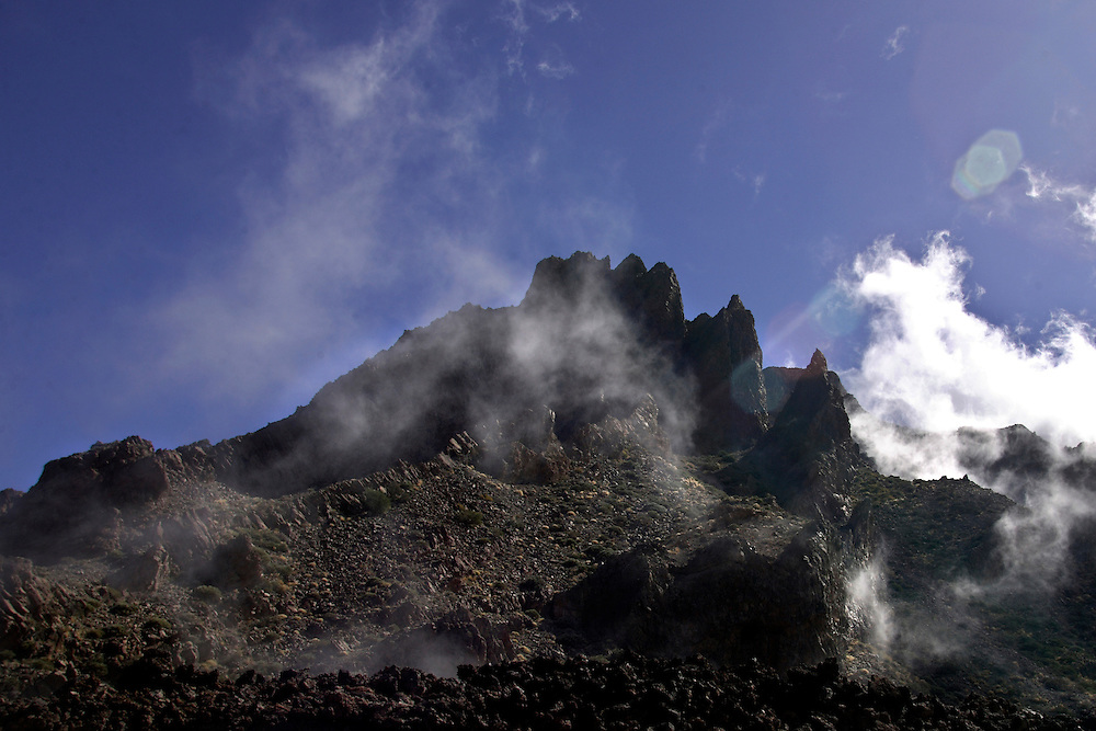 A view of top Capricho rock in Teide National Park, Tenerife, Canary Island, Spain.