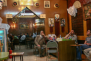 Arab men, smoke a nargileh in a cafe in east, Jerusalem, Israel
