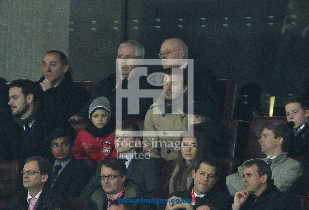 Picture by Paul Terry/Focus Images Ltd. 07545642257.09/01/12.David Beckham is spotted with his the children during the FA Cup third round match at Emirates Stadium, London.