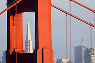 A view of San Francisco with the Transamerica building through the Golden Gate Bridge.