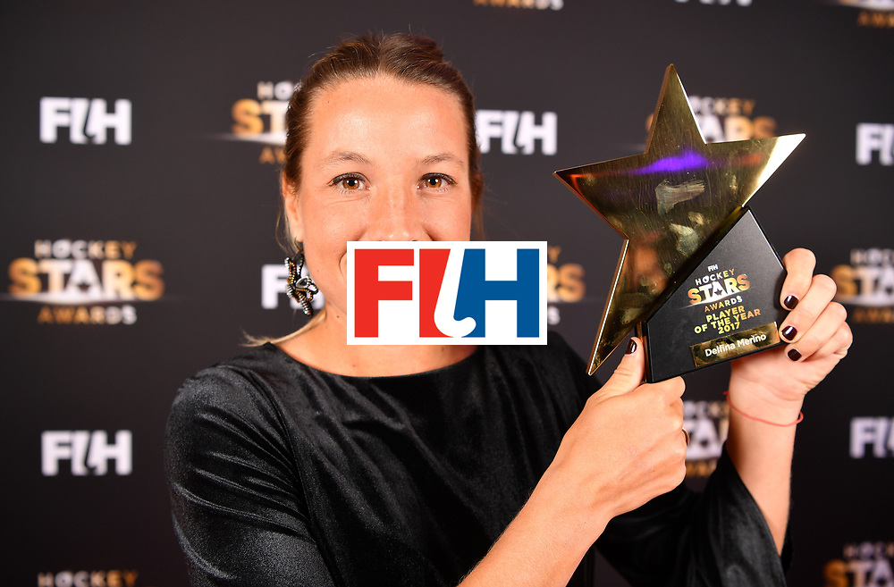 BERLIN, GERMANY - FEBRUARY 05:  Delfina Merino  of Argentina holds her award for player of the year during the Hockey Star Awards night at Stilwerk on February 5, 2018 in Berlin, Germany.  (Photo by Stuart Franklin/Getty Images For FIH)