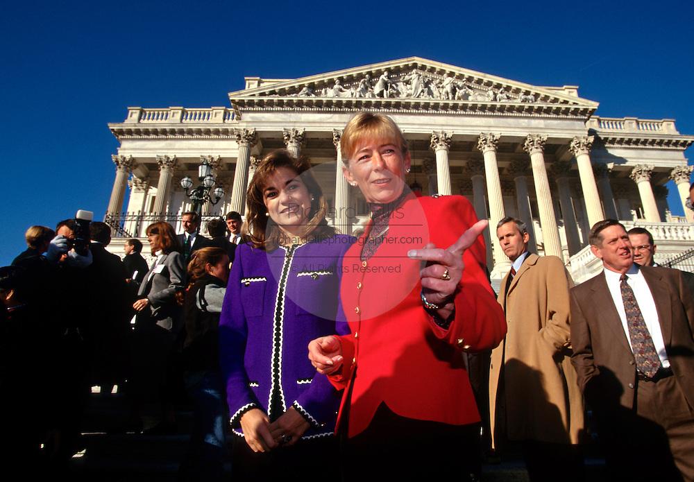 Freshman Congresswomen Carolyn McCarthy (R) and Loretta Sanchez stand outside the US Capitol building January 29, 1996 in Washington, DC.
