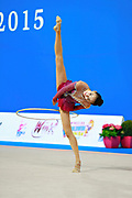 Zhang Doudou during qualifying at hoop in Pesaro World Cup at Adriatic Arena on 10 April 2015. Doudou was born on July 23, 1996 in Taiyuan. She is a Chinese individual rhythmic gymnast.