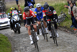 March 23, 2018 - Harelbeke, BELGIUM - Belgian Tiesj Benoot of Lotto Soudal, Belgian Philippe Gilbert of Quick-Step Floors and Belgian Greg Van Avermaet of BMC Racing Team pictured in action during the 61st edition of the 'E3 Prijs Vlaanderen Harelbeke' cycling race, 206,5 km from and to Harelbeke, Friday 23 March 2018. BELGA PHOTO POOL VINCENT KALUT (Credit Image: © Pool Vincent Kalut/Belga via ZUMA Press)