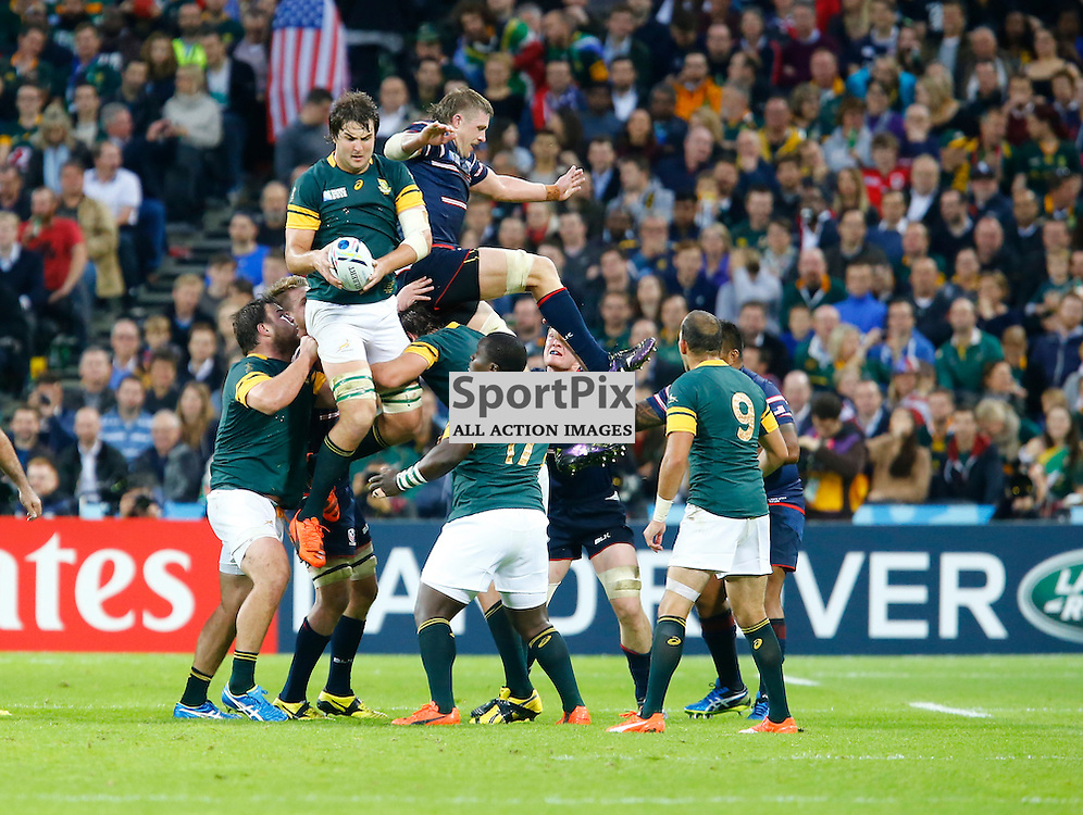 South Africas Lock Lodewyk De Jager win the ball in a line out. Rugby World Cup group game from Pool B between South Africa and USA at The Stadium. Queen Elizabeth Olympic Park. (c) Matt Bristow | SportPix.org.uk