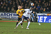 Newport  Robbie Willmott (7) battles for the ball against  Tottenham Hotspur Vincent Jassen (9) during the The FA Cup 4th round match between Newport County and Tottenham Hotspur at Rodney Parade, Newport, Wales on 27 January 2018. Photo by Gary Learmonth.