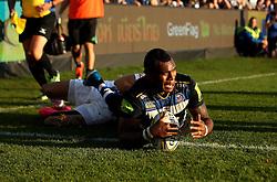 Semesa Rokoduguni of Bath Rugby scores a consolation try for Bath Rugby - Mandatory byline: Robbie Stephenson/JMP - 07966386802 - 31/10/2015 - RUGBY - Recreation Ground -Bath,England - Bath Rugby v Harlequins - Aviva Premiership